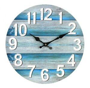 wall clock boards teal 34cm washed new marine theme beach decor nautical ebay. Black Bedroom Furniture Sets. Home Design Ideas