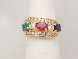 14k yellow gold sapphire ruby emerald and mothers