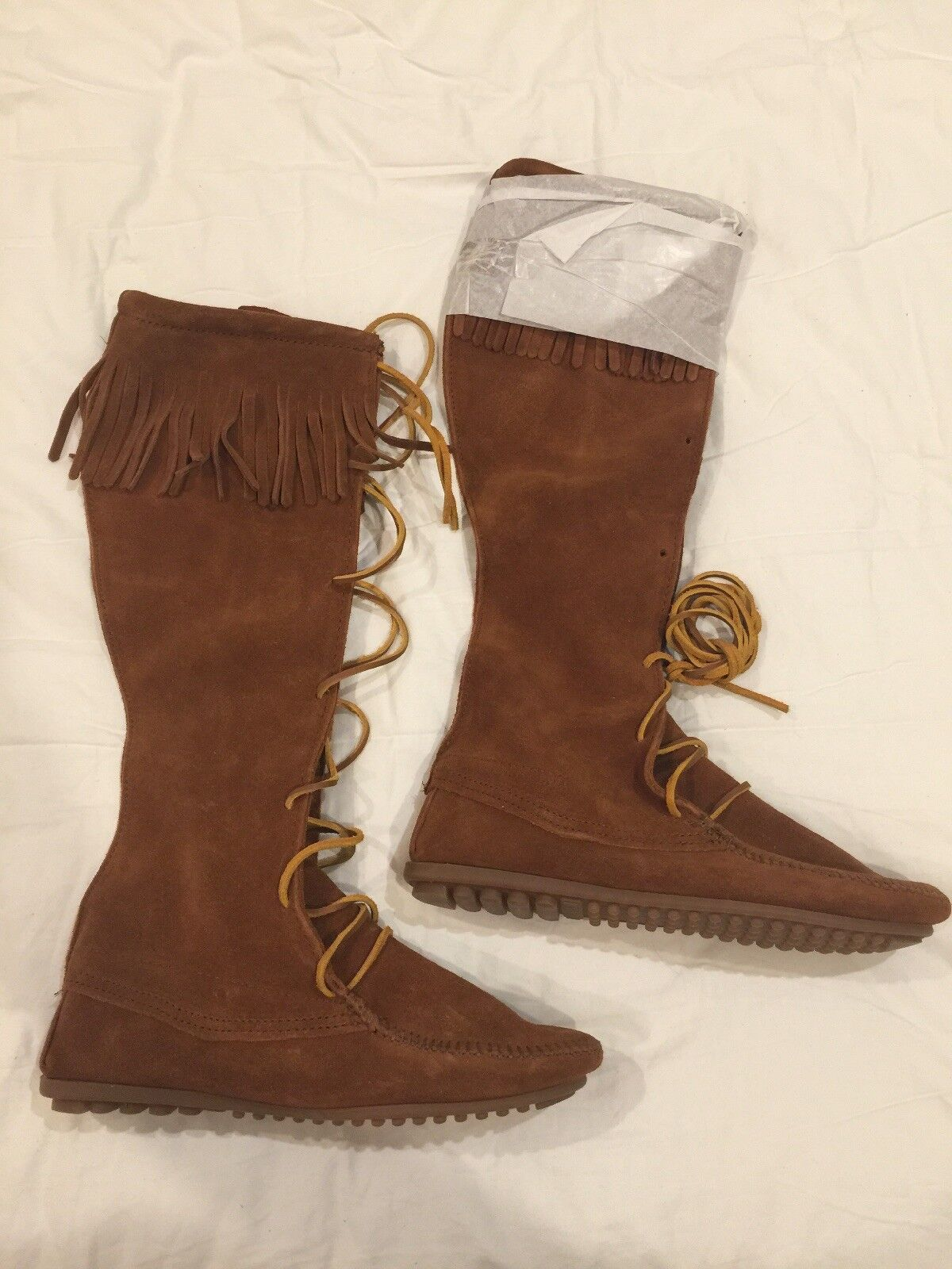 Minnetonka Front Lace Knee High avvio 8 Marroneee NEW IN BOX