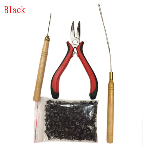 Pro Silicone Micro Rings Beads Feather Hair Extension Tools Kit Pliers Loop Hook