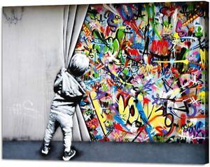 Yatsen Bridge Behind The Curtain Canvas Prints Banksy Graffiti Wall Art Painting
