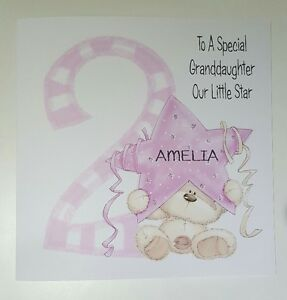 Image Is Loading Personalised 2nd Birthday Card Granddaughter Daughter Niece Goddaughter