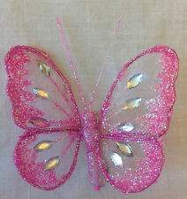 Jewelled Mesh Clip On Butterfly Butterflies Wedding Christmas