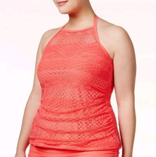Island Escape Plus Size Underwire High-Neck Tankini Top Women/'s Swim Top OCFO
