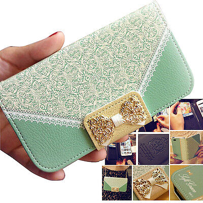 UK Magnetic Metal Bow Wallet Card Pu Flip Leather Case Cover For Samsung Galaxy