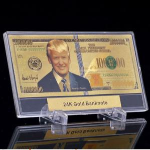 Donald-Trump-24K-Gold-Plated-Dollar-Bill-Gift-Shop-Money-Coin-USA-Hat-Shirt-Flag