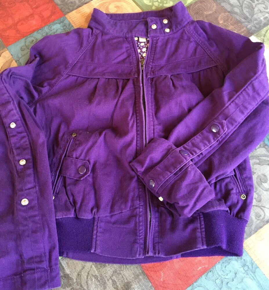 Veste en jean XXS pour jeune fille, taille M, violet avec fermeture à glissière sur le devant