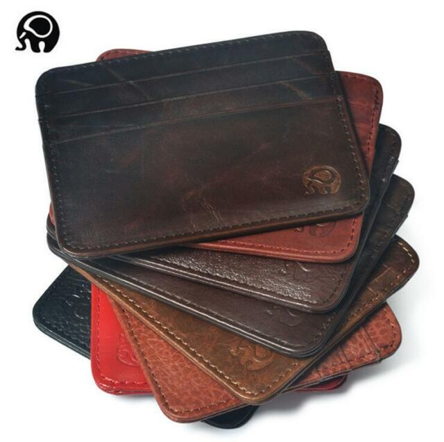 Men's Leather Slim Spring Money Clip Wallet Front Pocket Credit Card Case Holder
