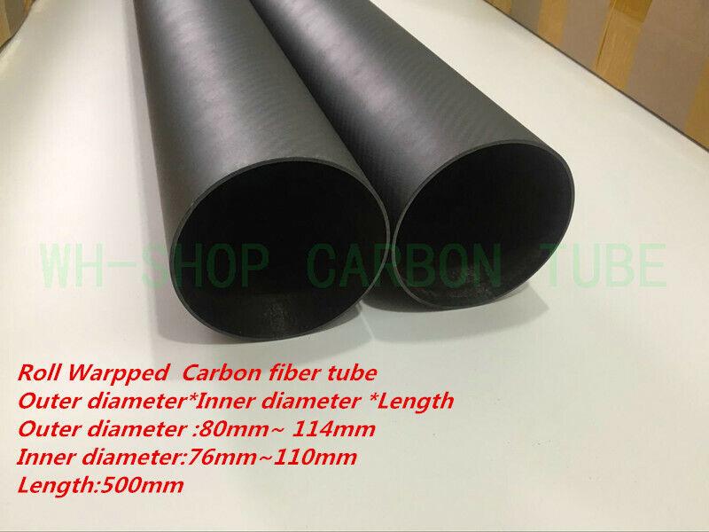 Rollo envuelto 3k de fibra de Cochebono tubo OD 80 84 90 94 100 104 114 MMX 500mm (2.0 Parojo)