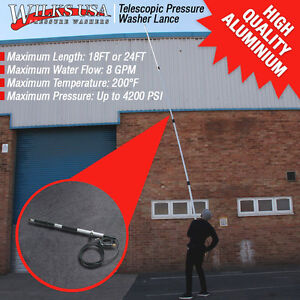 Pressure-Washer-Lance-Telescopic-Extendable-Gutter-amp-Soffit-Wand-18ft-amp-24ft