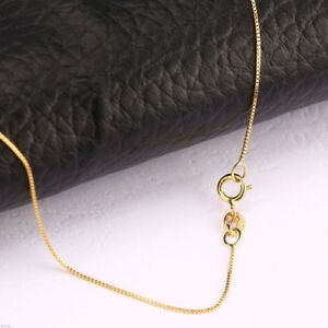 FINE-Solid-18K-Yellow-Gold-Necklace-0-5mm-Women-Box-Link-Chain-Au750-16inch