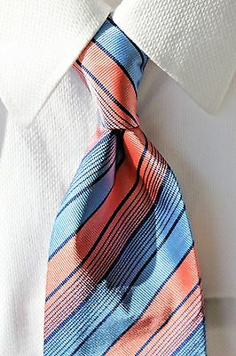 Paul Smith Gentleman's Sky Blue & Pink Striped Spring Silk Tie - Italy