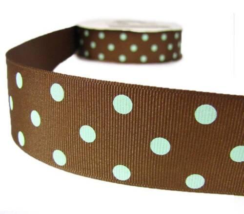 5 Yards Milk Chocolate Brown Mint Green Polkadots Polka Dots Grosgrain Ribbon 1