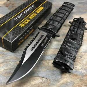 TAC-FORCE-Black-Spring-Assisted-Open-Sawback-Bowie-Tactical-Pocket-Knife