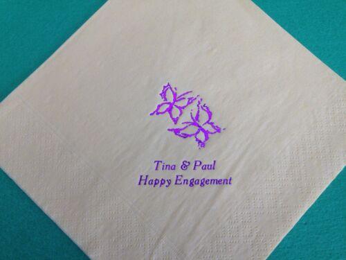 SERVIETTES 33CM 2PLY WEDDING BIRTHDAY ANNIVERSARY 100 PERSONALISED NAPKINS