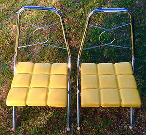 Vintage Childs Chair Set Mid Century Chrome Folding