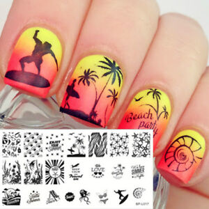 BORN-PRETTY-Nail-Art-Stamping-Plates-Image-Template-Stamp-Summer-Beach-Pattern