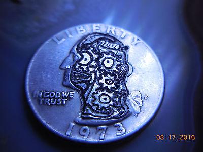 1973 Hobo Nickel Washington Quarter Steampunk Gears Psychedelic 710 Art