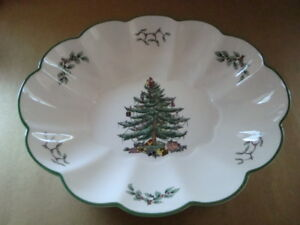 """CHRISTMAS TREE by Spode England ~ 10 1/4"""" Ruffled Bowl Dish ~ Excellent   eBay"""