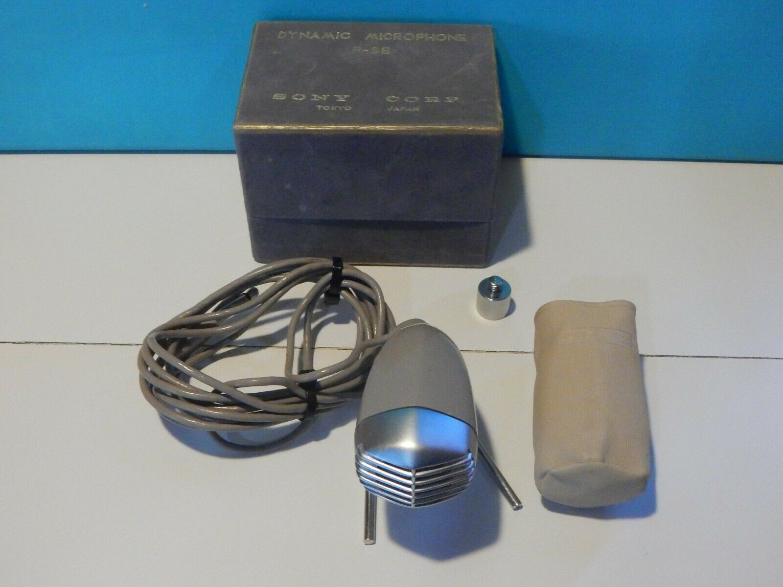 Vintage 1960S Sony F-3B Dynamic Microphone In Box And Accessories Harp Shure