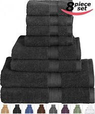 Cotton Bath Towel Set Black - 8 Piece Includes 2 Bath Towels, 2 Hand Towels, 4