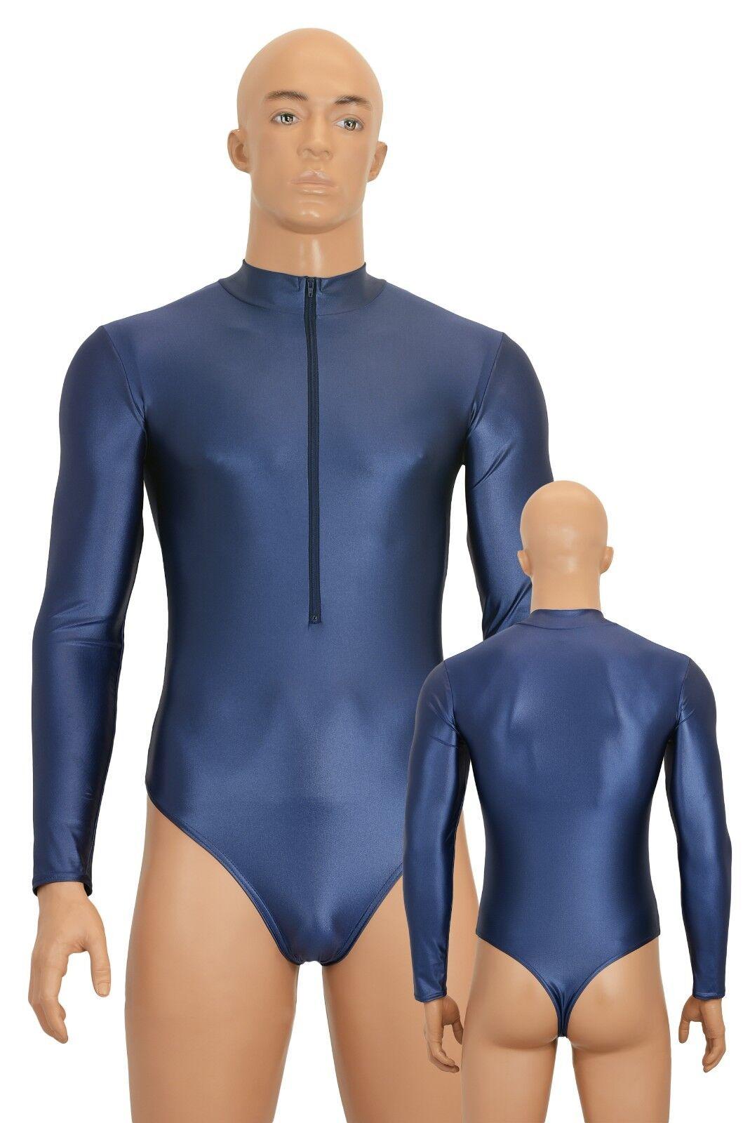 Herren Stringbody FRV Long Sleeves Wetlook Shine Stretch Shiny Stretchy Skinny