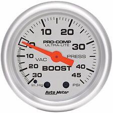"Auto Meter Ultra-Lite 30 In.Hg / 45 Psi Mechanical Boost / Vacuum Gauge 2 1/16"""