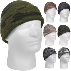 Image is loading Camo-Watch-Cap-Beanie-Skully-Knitted-Cuffed-Stocking- 9c6bd243913