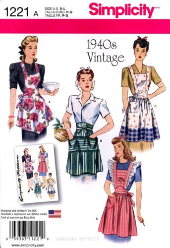 1940s Sewing Patterns – Dresses, Overalls, Lingerie etc    Simplicity Sewing Pattern 1221 Womens 1940s Vintage Style Aprons S-L retro $5.97 AT vintagedancer.com