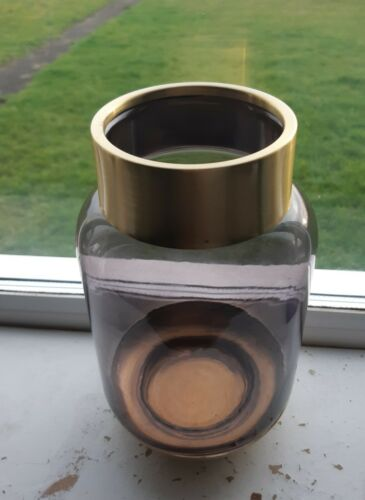 Jeff Banks Glass Vase Gold Brass Trim Smoked Glass  21 cm Tall