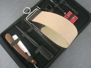 Rasiermesser-Set-Paste-Solingen-9er-Set-Echt-Leder-Abziehleder-Riemen-Haarschere