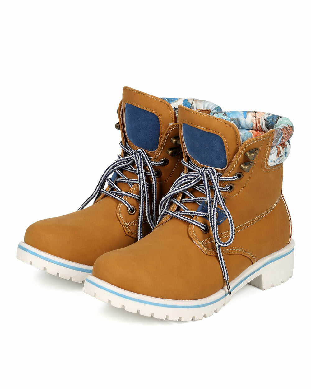 New Women Nature Breeze Sierra-01 Leatherette Lace Up Two Tone Lug Work Boot