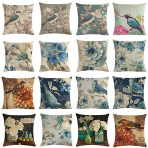 Blue Flowers ?? Blue Birds Linen Cushion Cover Sofa Pillow Case Home Decorative