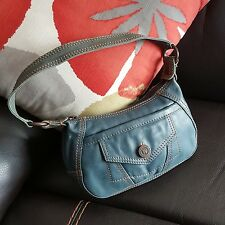 Wilsons Leather Women's Purse Shoulder bag Boxcar Zip Blue Small FWUW