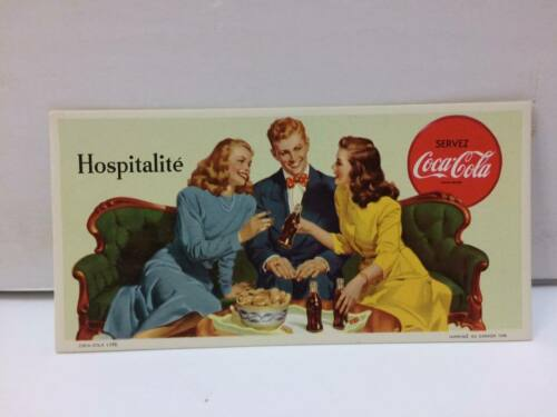 Hospitalité Coca Cola in French Quebec Canada 1948 Vintage Blotter