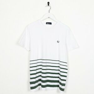 Vintage-FRED-PERRY-Small-Logo-Striped-T-Shirt-Tee-White-Green-Small-S