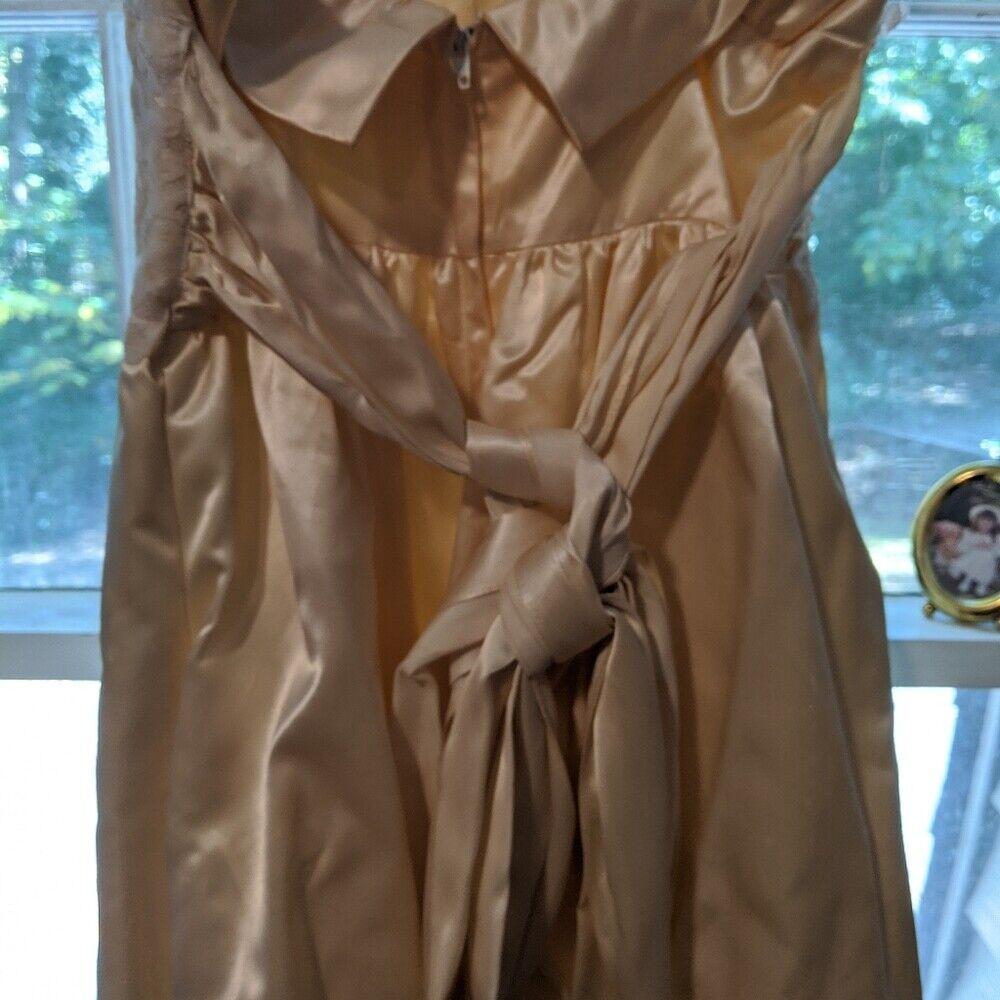 Gunne Sax Dress Ivory Satin Formal Dress S Lace - image 5