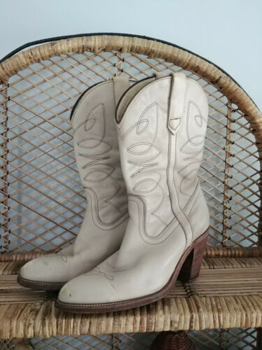 Vintage Frye White Leather Western Cowboy Boots 8