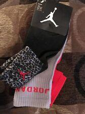 2 Pair Nike Air Jordan Crew Socks Shoe Size 5Y-7Y Black Green $14 Gift L1 MP