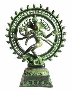 SHIVA-NATRAJA-Statue-Gott-des-Tanzes-Messing-Hinduismus-H-35cm-Natraj-Shiwa-siva