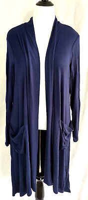 Womens Tunic Dress Plus Size 2X 22 24 Soft Jersey Knit Slate Blue Ruffle Stretch