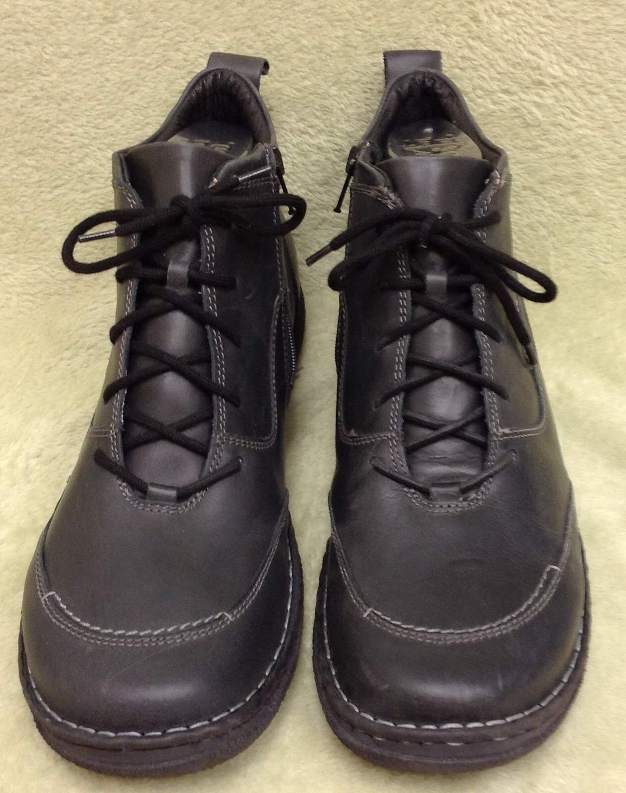 NWOT Josef Seibel Lace Up Side Zip Leather Men's Ankle Ankle Ankle avvio Navy blu Dimensione 12 1984db