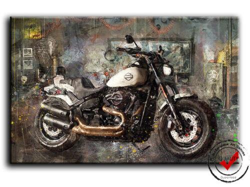 Harley Davidson Fat Bob Motorrad Bild Leinwand Wandbild Garage Poster,Deko Moto