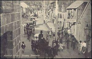 dominica w i roseau market street horse carts 1910s ebay