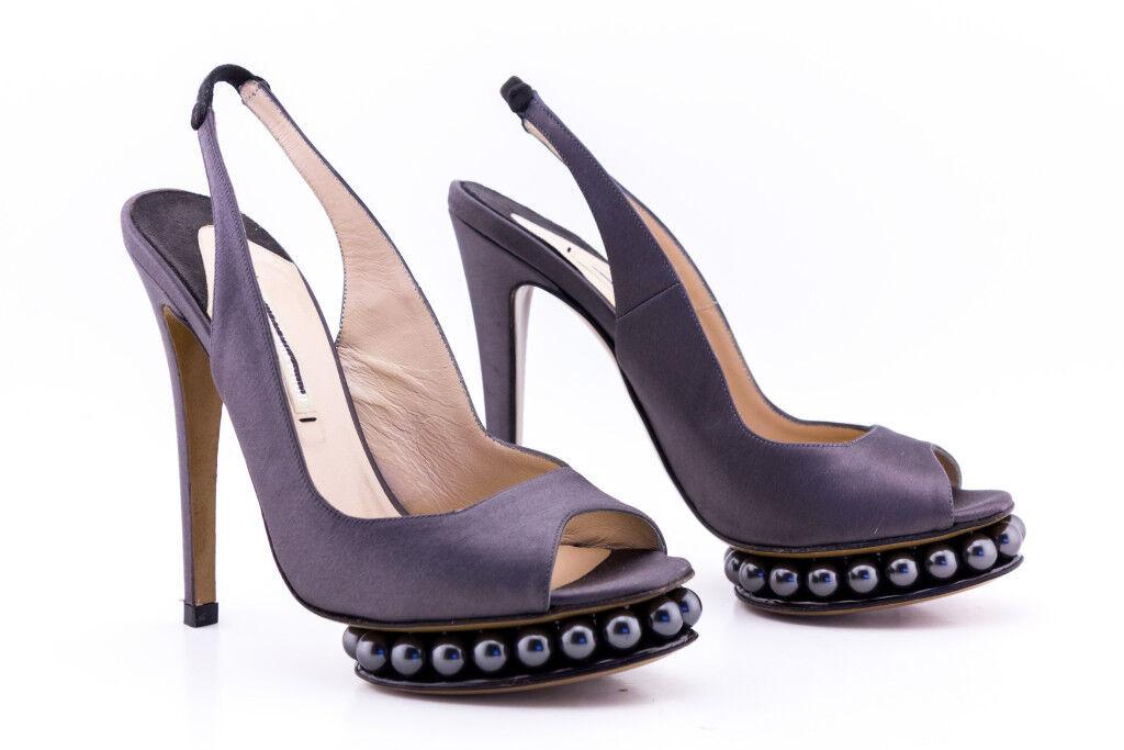 NICHOLAS pearl KIRKWOOD shoes platforms platform pearl NICHOLAS Grau satin peep toe 36.5 37 52a65f
