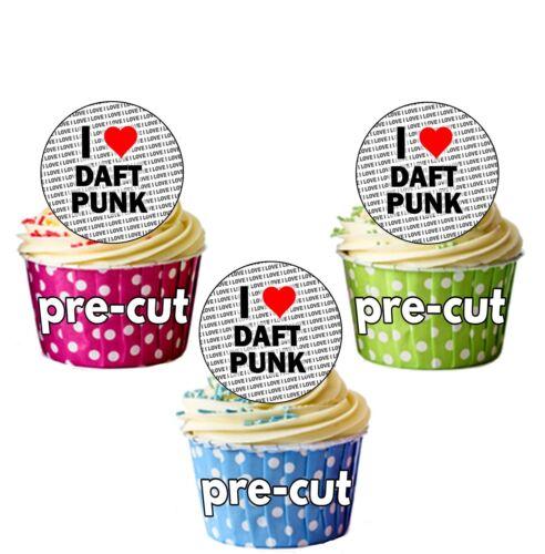 I Love Daft Punk 24 Edible Cupcake Toppers Cake Decorations Precut Circles