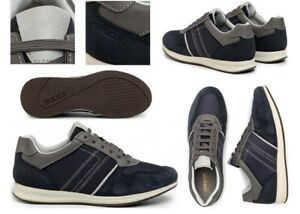 Scarpe-da-uomo-Geox-Avery-sneakers-casual-basse-vera-pelle-da-passeggio-estive
