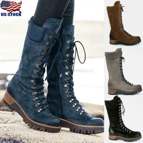 Womens Military Lace Up Combat Boots Biker Army Low Heel Mid Calf Boots Shoes US