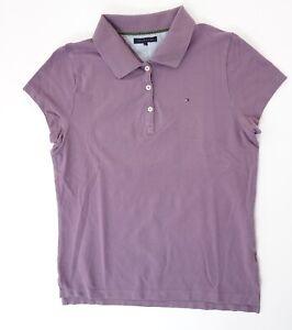 Tommy Hilfiger Poloshirt Polohemd Damen Gr.L lila uni Knopf Piquè -S1323