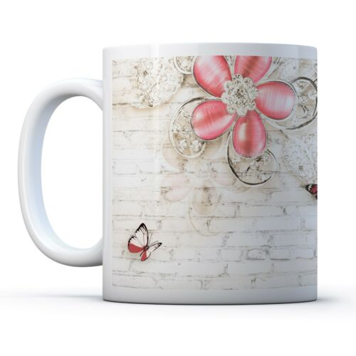 Drinks Mug Cup Kitchen Birthday Office Fun Gift #16311 Cute Butterfly Roses